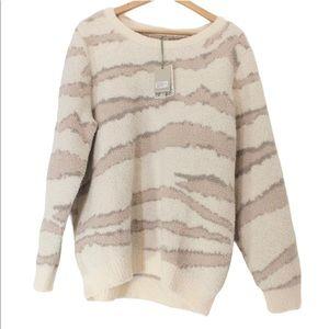 BAREFOOT DREAMS Cream Taupe Brown Crewneck Sweater